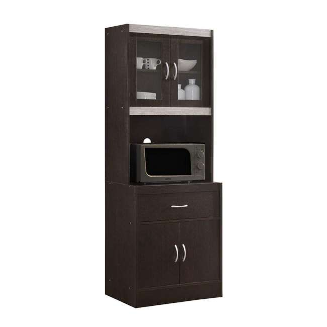 """HIKF96 CHOCO-GREY Hodedah Import 70"""" Tall Top/Bottom Enclosed Kitchen Cabinet w/ Drawer, Chocolate"""