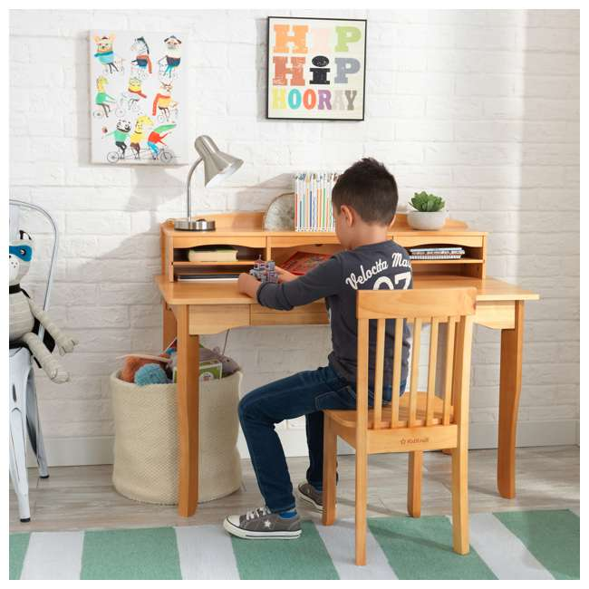 26707 KidKraft Avalon Wooden Kids Room Study Desk with Hutch & Chair Set, Natural 4