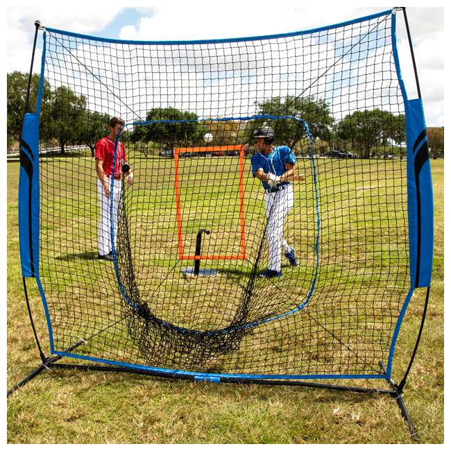 BS100Y19001 Training Equipment Baseball Fiberglass Pitching/Batting Net, Blue and Orange 9