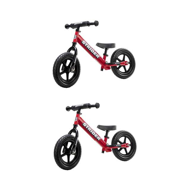 ST-S4RD Strider 12 inch Sport Toddler Training Adjustable Balance Bike, Red (2 Pack)