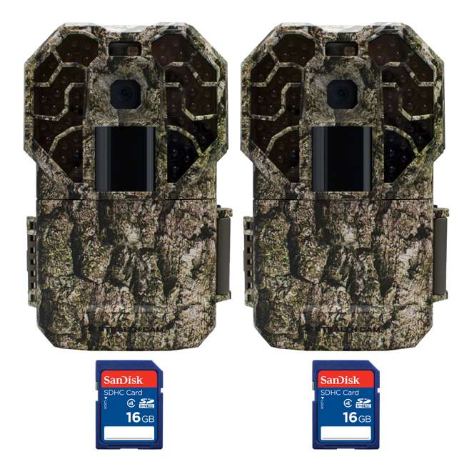 STC-G45NGX + 2 x SD4-16GB-SAN Stealth Cam G45NGX Camo Hunting Trail Camera (2 Pack) + 16GB SD Card (2 Pack)
