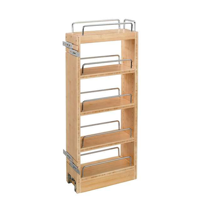 448-WC-8C Rev A Shelf 8 Inch Pull Out Wood Base Kitchen Cabinet Organizer