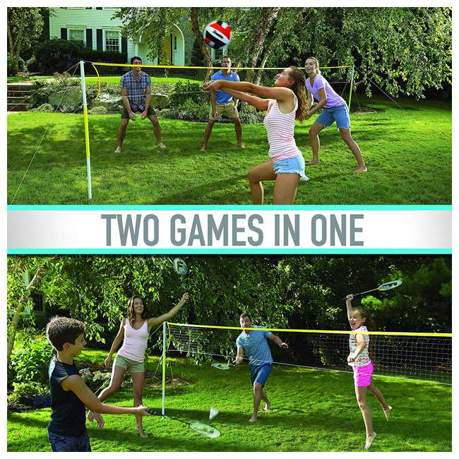 50611 Franklin Sports Backyard Volleyball and Badminton Set 2
