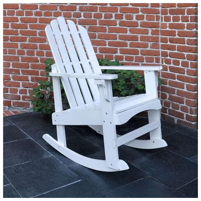 4698WT Shine Company Weather Resistant Cedar Wood Marina Porch Rocking Chair, White 6