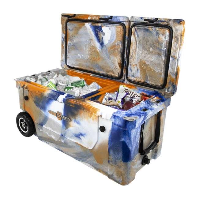 HC75-17ONW WYLD 75 Quart Pioneer Dual Compartment Insulated Cooler w/ Wheels, Blue/Orange 3