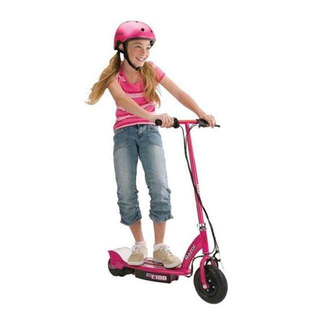 13111261 + 97880 + 96785 Razor E100 Pink 24V Electric Ride On Scooter w/ Red Helmet & Red Elbow/Knee Pads 2