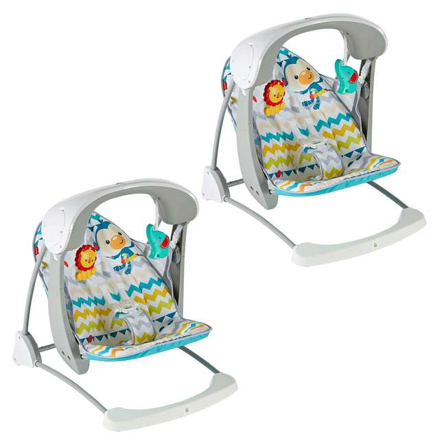DPV46 Fisher Price Colorful Carnival Take-Along Infant Swing and Seat (2 Pack)