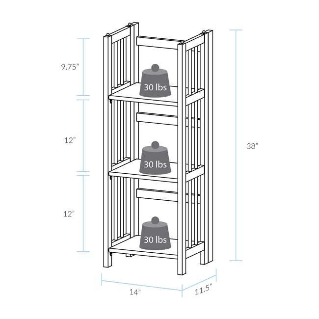 331-39 Casual Home 3 Shelf 14 Inch Folding Office Furniture Wood Bookcase, Mahogany  8