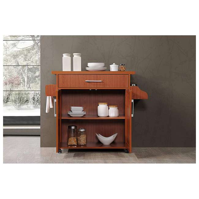 HIKF78 CHERRY Hodedah Wheeled Kitchen Island Cart with Spice Rack and Towel Holder, Cherry 2