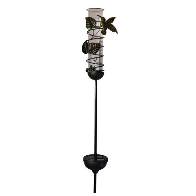 MR-95074 Moonrays 95074 Outdoor Hummingbird Rain Gauge and Solar Garden LED Stake Light