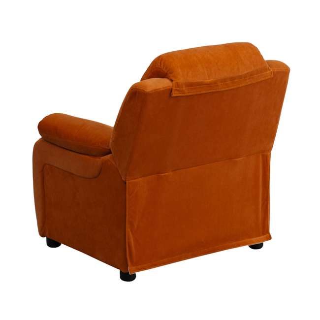 BT-7985-KID-MIC-ORG-GG Flash Furniture Deluxe Padded Orange Microfiber Kids Recliner with Storage Arms 3