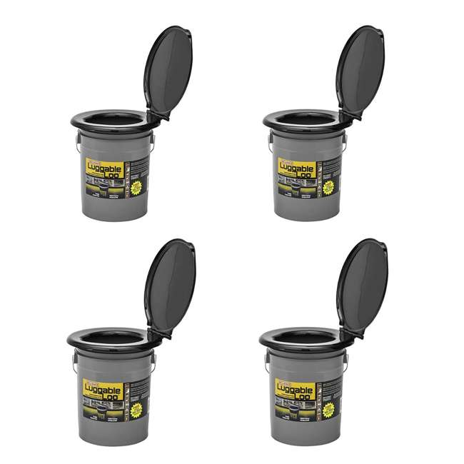 4 x 9853-03 Reliance Products Luggable Loo Portable Lightweight 5 Gal Toilet, Gray (4 Pack)