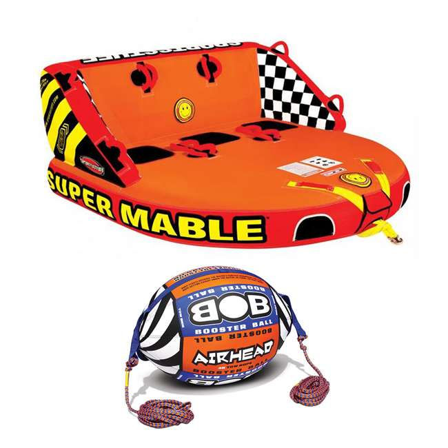 53-2223 + AHBOB-1 Airhead Triple Rider Towable Tube & Tow Rope w/ Buoy Booster Ball