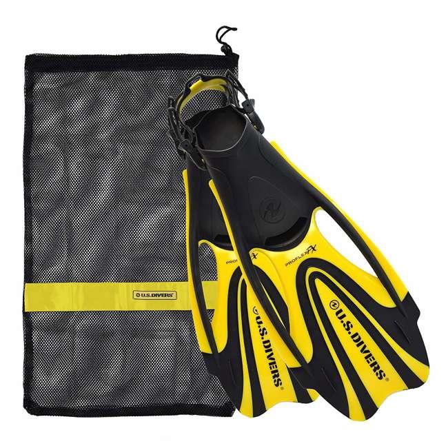 FA278O0701L U.S. Divers Proflex FX Snorkeling Set Size Large Diving Fins w/ Mesh Bag, Yellow