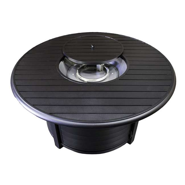 F-1350-FPT AZ Patio Heaters Round Aluminum Propane Fire Pit, Black