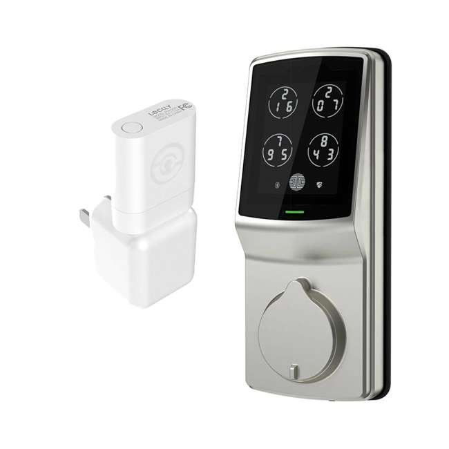 PGD728SN + PGH200 Lockly Secure Keyless Entry Smart Deadbolt Door Lock, Nickel with Door Sensor