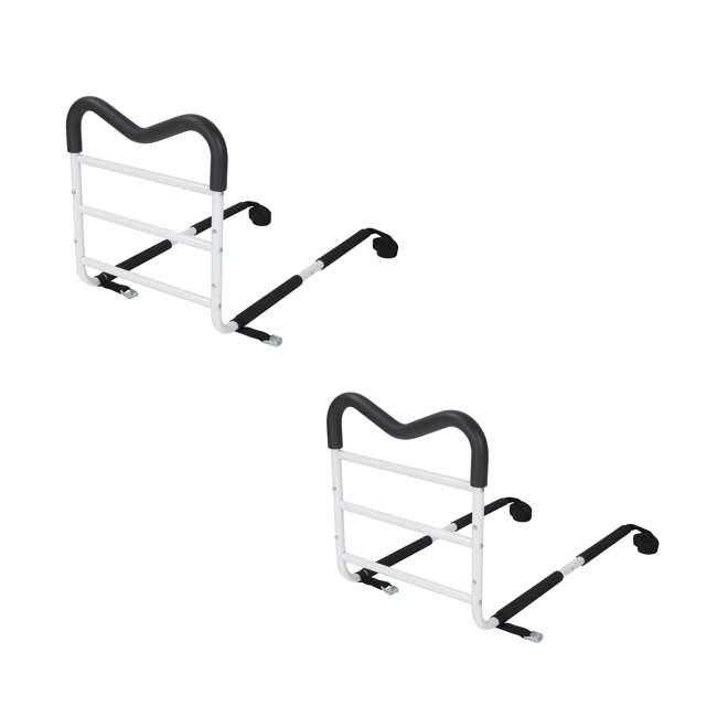 LF838-MRAIL Bios Adjustable M-shaped Safety Bedside Handrail, White (2 Pack)