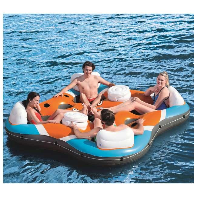 6 x 43115E-BW-U-B Bestway Rapid Rider 4-Person Floating Island Raft w/ Coolers (Used) (6 Pack) 7