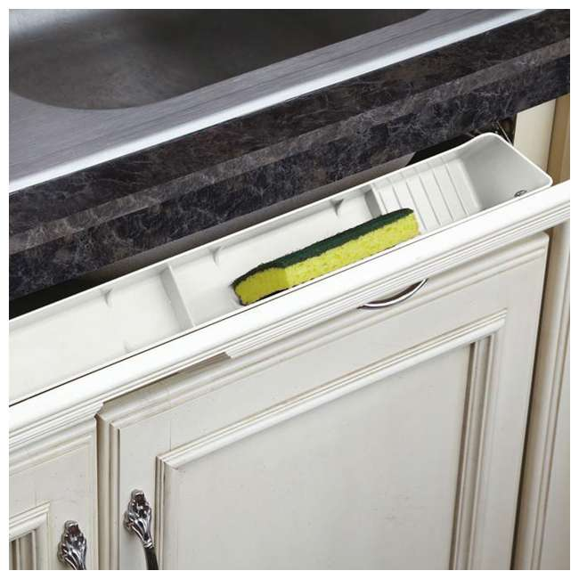 LD-6591-30-11-1 Rev A Shelf Lazy Daisy 30 Inch Polymer Sink Front Tip Out Tray and Hinges, White 1