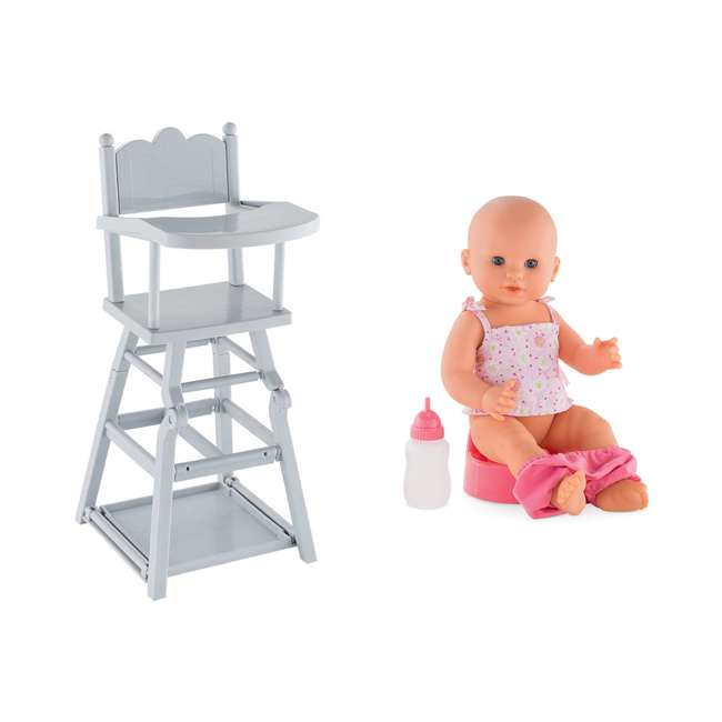 FRV07 + FPK23 Corolle Mon Grand Poupon Potty Training Emma Doll & Adjustable Toy High Chair