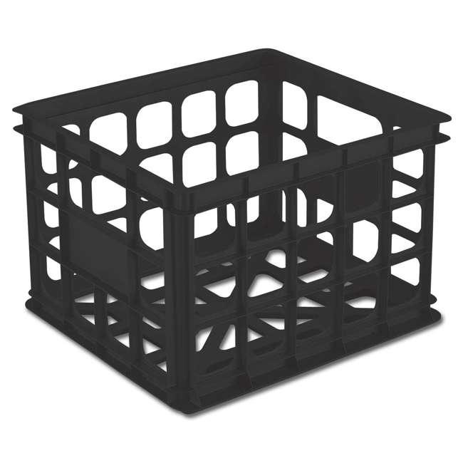 18 x 16929006-U-A Sterilite 16929006 Plastic Black Storage Box Crate - Single (Open Box) (18 Pack) 1