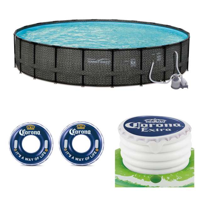 """P4A024521167 + 2 x K10423D00167 + KF0226B00167 Summer Waves 24' x 52"""" Pool Set + Corona Pool Floats (2 Pack) + Floating Cooler"""