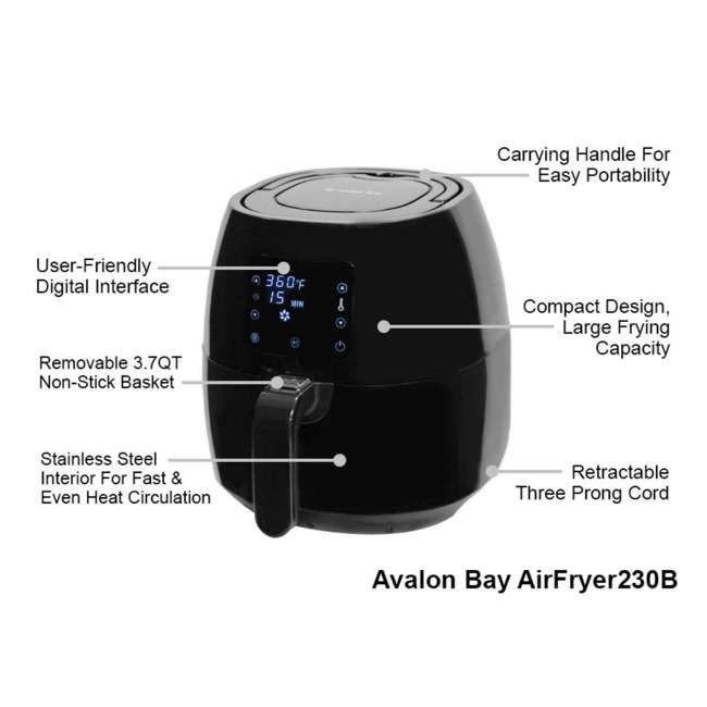 AB-AIRFRYER230B Avalon Bay Air Fryer Digital Display Stainless Steel Healthy Kitchen Appliance 3