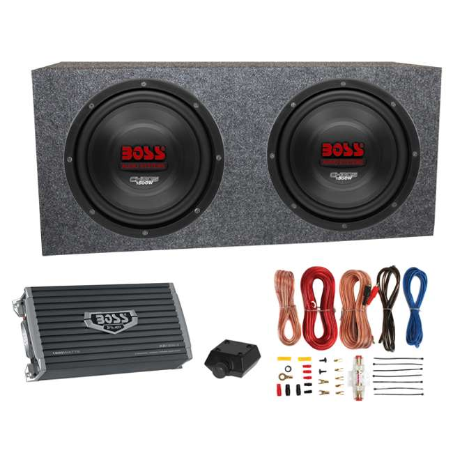 CH10DVC + VM10SEALED + AR16002 +AKS8 Boss CH10DVC 10-Inch 3000W Subwoofers with Sealed Box Enclosure with Amp with Amp Kit (Pair)