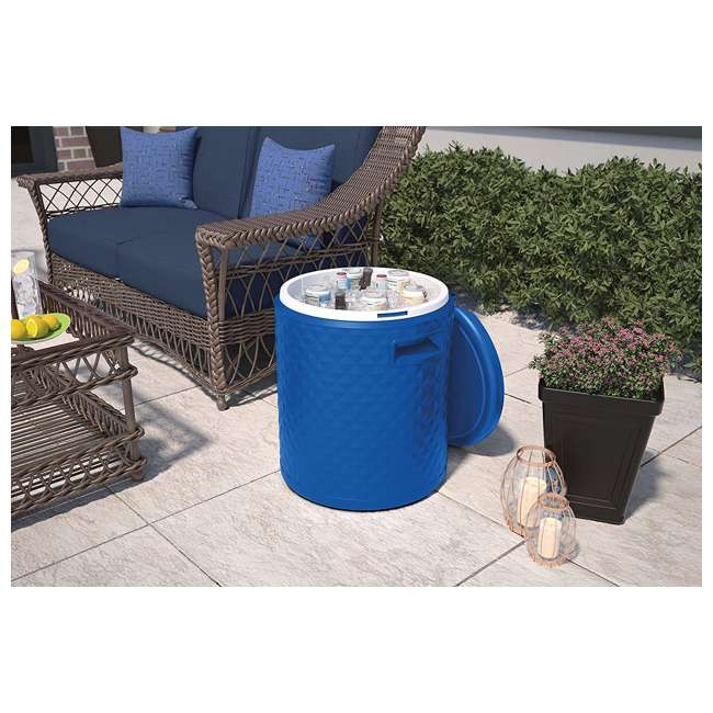 BMDC1000BD Suncast 3 in 1 Design 54 Quart Resin Cooler Side Table & Decorative Stool, Blue 4