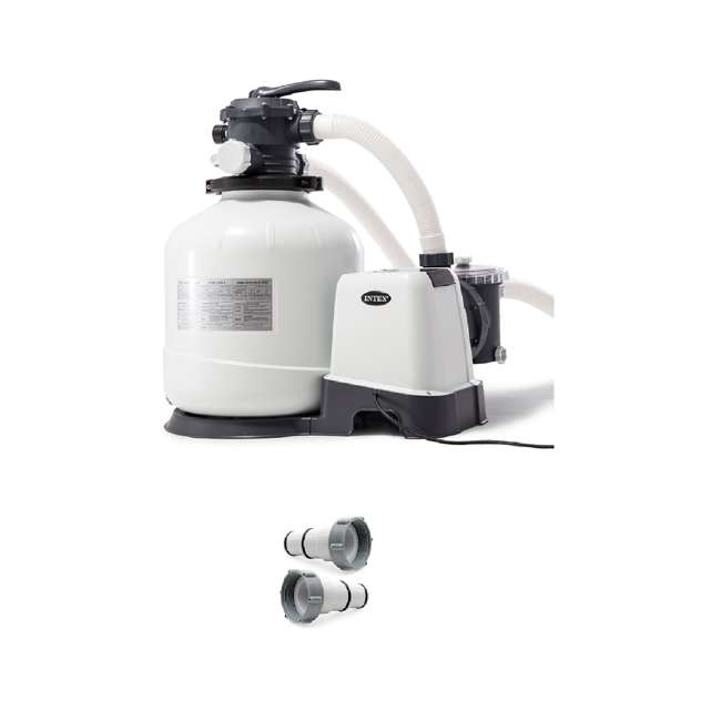 26651EG + 25007 Intex Pool Sand Filter Pump w/ Automatic Timer & Replacement Hose Adapter