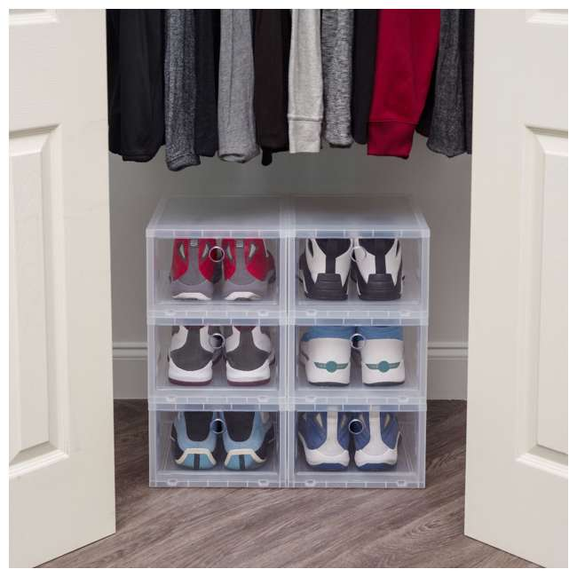 589021-4PK IRIS USA Wide Pull Down Front Access Shoe Sneaker Storage Box 4 Pack, Clear 1