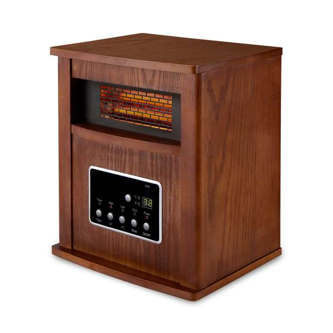 LIM-19-100004 Limina Portable Electric 1500W Infrared Quartz Cabinet Space Heater, Dark Walnut