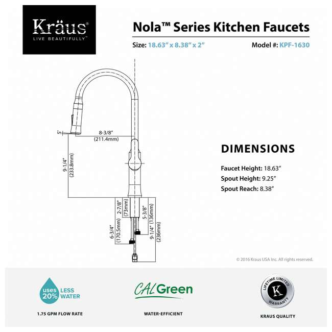 4 x KPF-1630SS Kraus Nola Single Lever Pull-Down Kitchen Faucet, Stainless Steel (4 Pack) 4