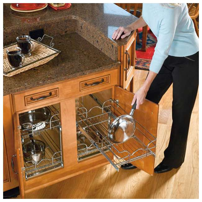 "5WB2-1522-CR Rev-A-Shelf 15"" Wide 22"" Deep Base Kitchen Cabinet 2 Tier Pull Out Wire Basket 8"