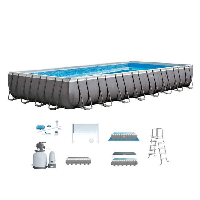 26375EH + QLC-57630 Intex 32'x16'x4.3' Ultra Frame Above Ground Pool w/ Sand Pump & Winterizing Kit 1