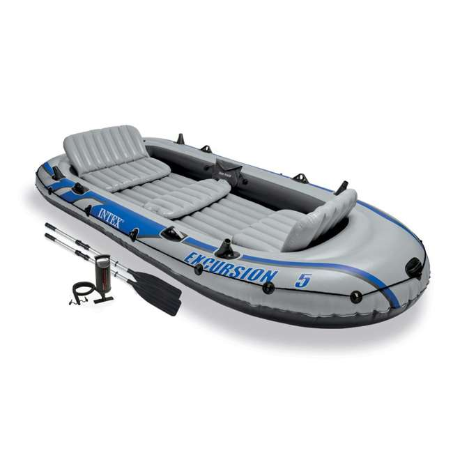 68325EP-U-A Intex Excursion 5 Inflatable Rafting/Fishing Dinghy Boat Set  (Open Box) (2 Pack)