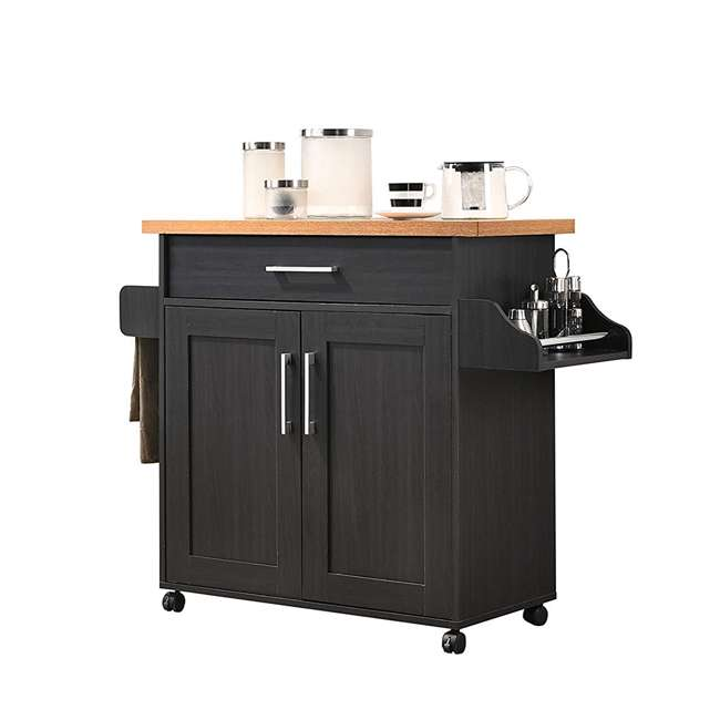 HIK78 BLACK-BEECH Hodedah Wheeled Kitchen Island with Spice Rack and Towel Holder, Black/Beech