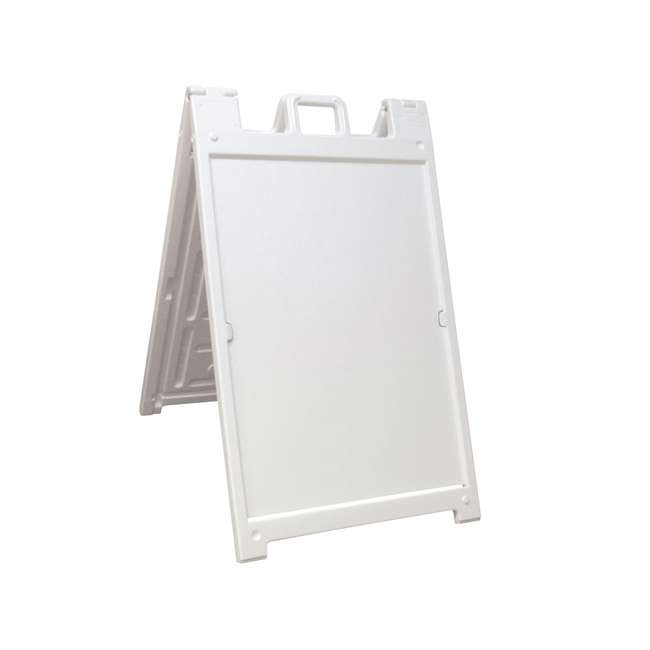 140NS Plasticade Deluxe Signicade Double-Sided Sign Stand, White 1