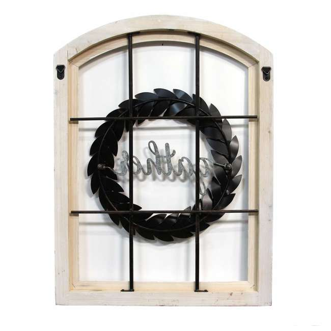 S15034 Stratton Home Decor Gather Bronze Wreath Window Wall Decor, Distressed White 1
