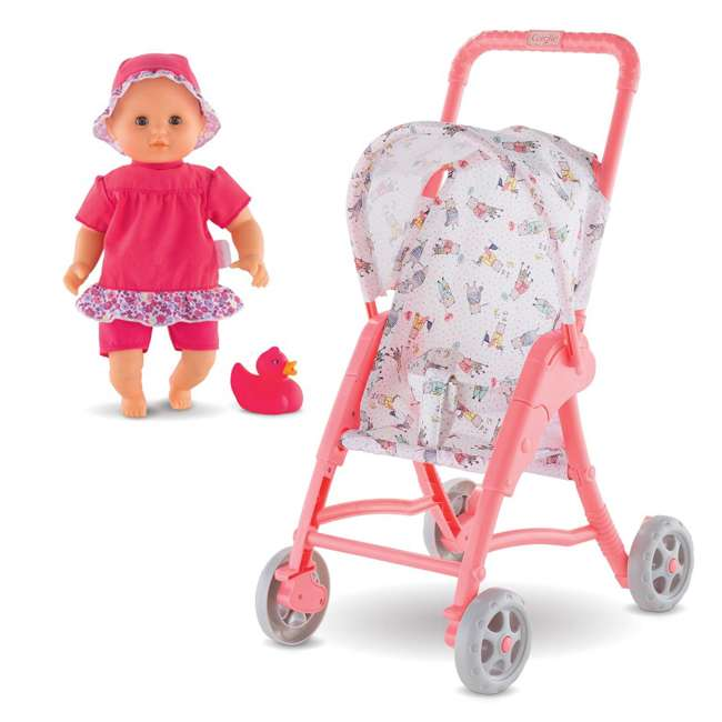 100130 + FRN90 Corolle Mon Premier Baby Bath Waterproof Coralie Doll with Duck & Toy Stroller