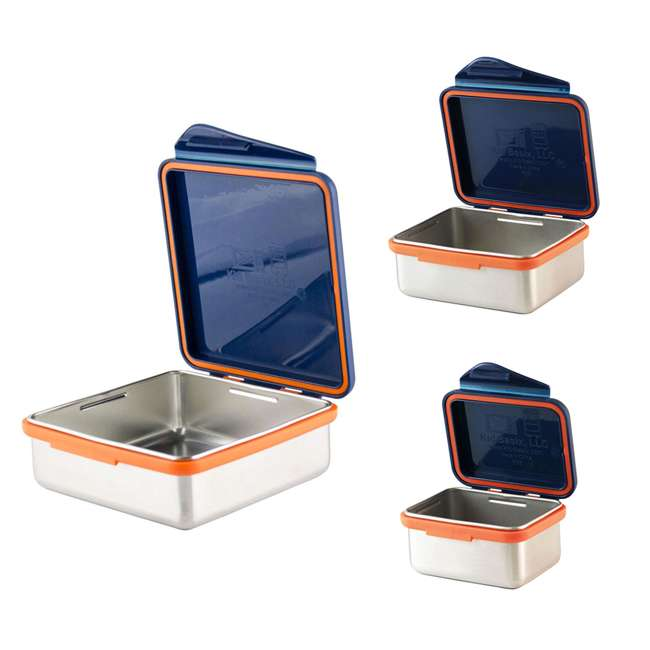 796515002881 + 796515002850 + 796515002768 Kid Basix Safe Snacker 23oz Stainless Steel Lunch Box + 13oz and 7oz Containers