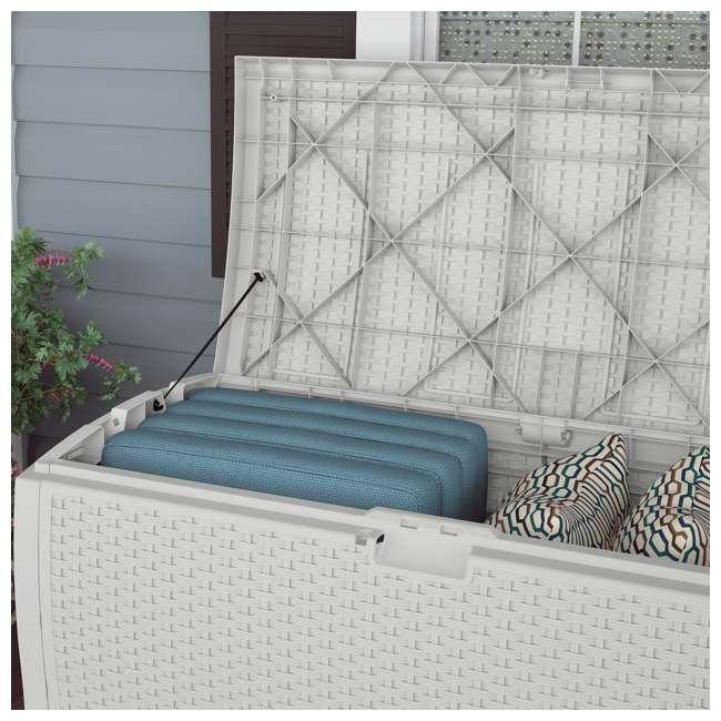 DB9200WD Suncast 99 Gallon Resin Wicker Horizontal Outdoor Deck Box, White  (2 Pack) 2