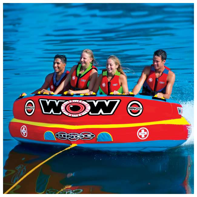 14-1080 Wow Bingo 2 Inflatable 2 Person Seating Ride Cockpit Towable Water Sports Tube  4