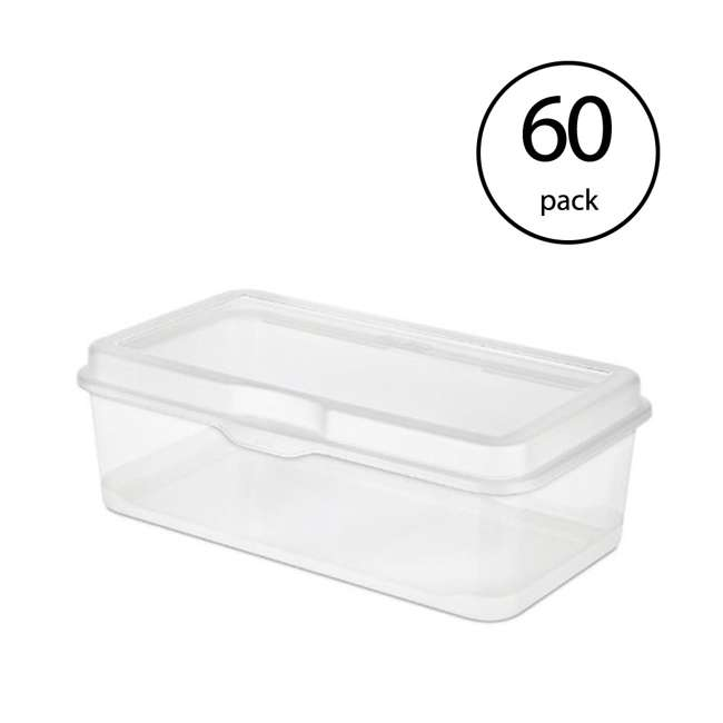 60 x 18058606 Sterilite 18058602 Plastic FlipTop Latching Storage Box Container Clear (60 Pack)