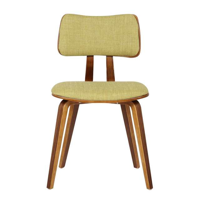 LCJASIWAGREEN Armen Living Jaguar Mid Century Dining Chair in Walnut & Green Fabric (2 Pack) 4