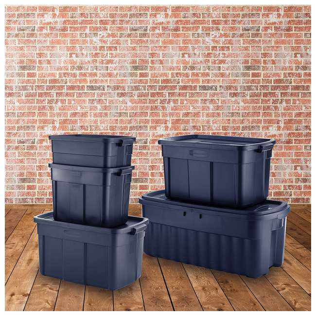 RMRT500007-4pack Rubbermaid Roughneck 50 Gallon Storage Tote, Dark Indigo Metallic (4 Pack) 5