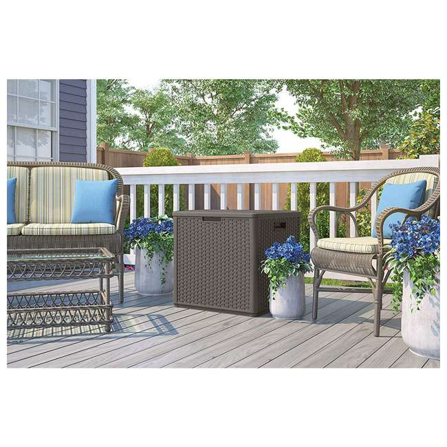 4 x SS601ST Suncast 22 Gallon Small Resin Patio Storage Deck Box and Seat, Stoney (4 Pack) 2