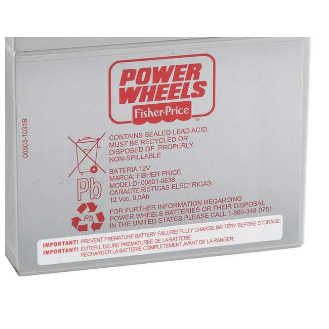 74777 Fisher Price Power Wheels 12 Volt Rechargable Battery | 74777 1