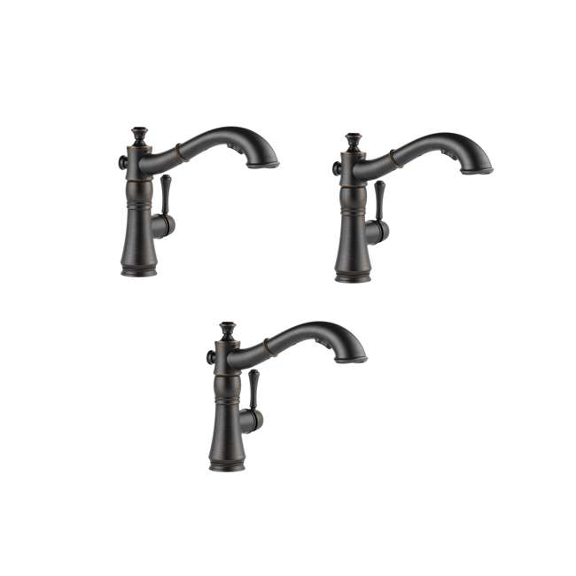 3 x 4197-RB-DST Delta Cassidy Single Handle Pull-Out Faucet, Bronze (3 Pack)