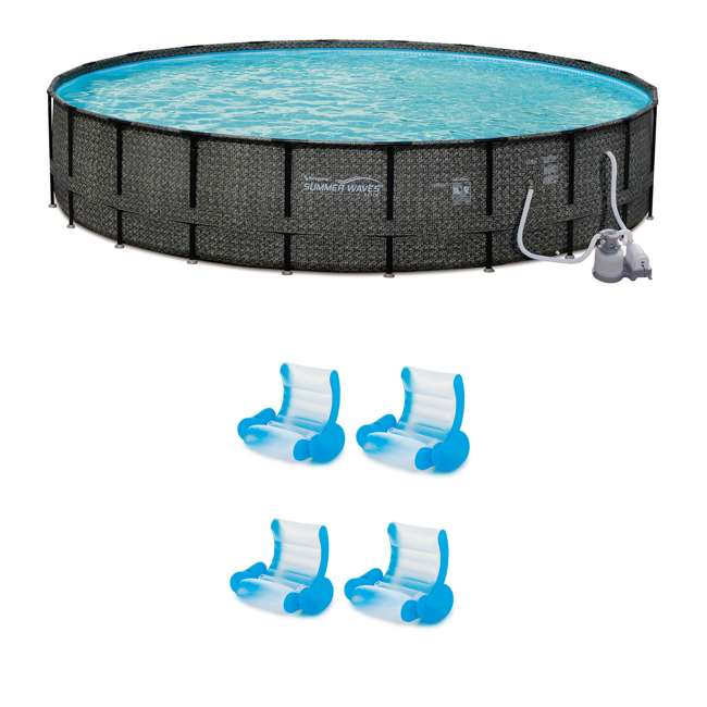 """P4A024521167 + 4 x K71071000167 Summer Waves 24' x 52"""" Pool Set + Inflatable Rocking Chair Lounges (4 Pack)"""